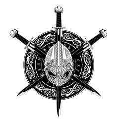 Viking helmet crossed sword vector