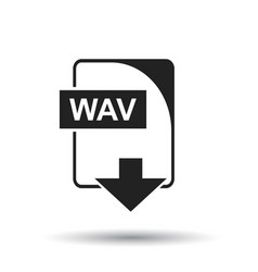 wav icon flat wav download sign symbol with vector image