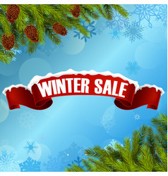 winter sale background banner and christmas tree vector image