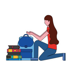 woman with backpack and books education school vector image