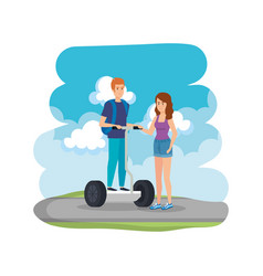 Young couple in folding e-scooter on the road vector