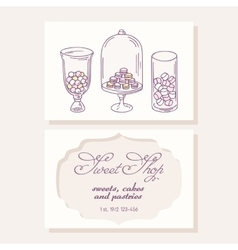 Hand drawn candy bar business card template for vector image vector image