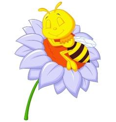 Little bee cartoon sleeping on the big flower vector image