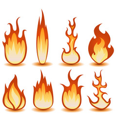 fire and flames symbols set vector image