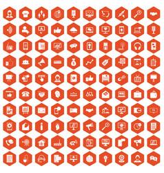 100 help desk icons hexagon orange vector image