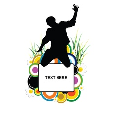banner with man jump silhouette in flower vector image vector image
