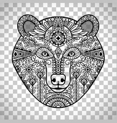 doodle bear face on transparent background vector image