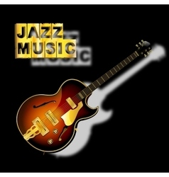 guitar jazz music with a blurred shadow vector image vector image