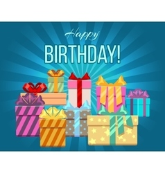 Happy birthday greeting card with a heap of gift vector image