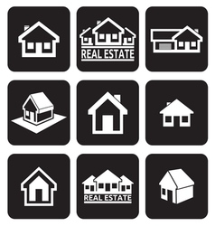 House icons set Real estate vector image