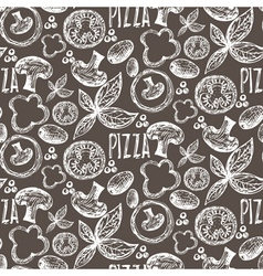 Seamless pattern hand drawn delicious pizza with vector image