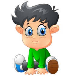 cartoon boy sitting vector image vector image
