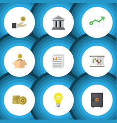 Flat icon gain set of document cash bank and vector