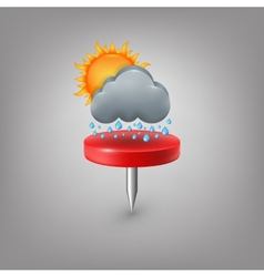 Red pin icon weather Cloud sun rain vector image vector image