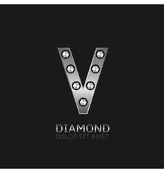 Silver V letter vector image vector image