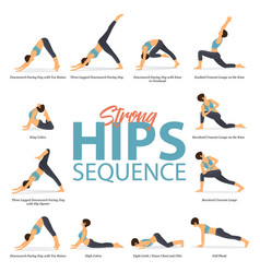 12 yoga poses in concept strong hips vector