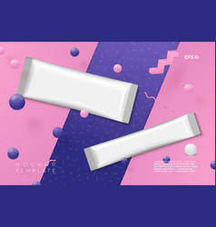3d abstract scene with plastic stick packs vector image