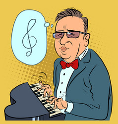 a man plays toy piano composer performs vector image