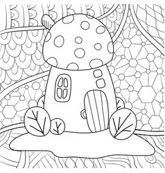 Adult coloring bookpage a cute mushroom house vector