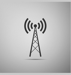 Antenna flat icon on grey background vector