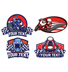Badge design motorcycle race vector