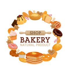 bakery or pastry shop bread and sweet food vector image