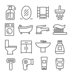 Bathroom line icons vector