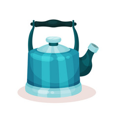 Blue metal tea kettle vessel used for boiling vector