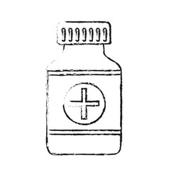 Blurred silhouette remedy bottle with tap and vector