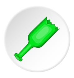 Broken bottle icon cartoon style vector