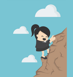 Business concept cartoon business woman climbing vector
