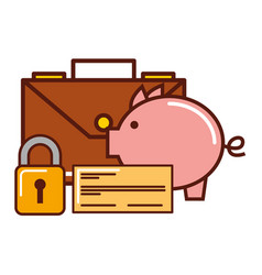business piggy bank check briefcase security vector image