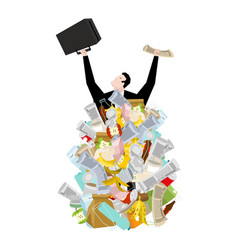 businessman in garbage heap boss in pile rubbish vector image