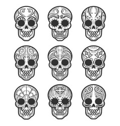 calavera or sugar skull tattoo set vector image