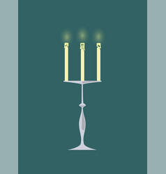 candle with burning flames candlestick decor vector image