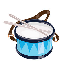 cartoon drum on a white background toy musical vector image