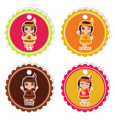 Cartoon with indian girls on colorful frame vector