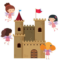 castle towers with fairies flying around vector image