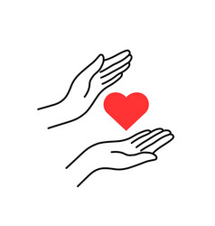 Charity or donation with linear woman hands vector