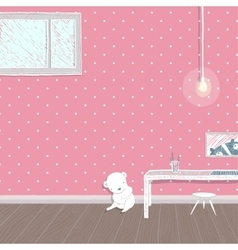 Children room pink background design vector