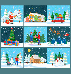 christmas and new year winter holidays celebration vector image