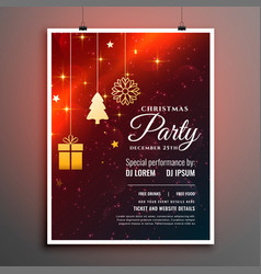 christmas party flyer template with invitation vector image