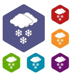 Cloud and snowflakes icons set vector image