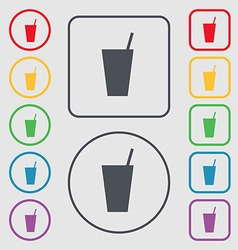 cocktail icon sign symbol on the Round and square vector image