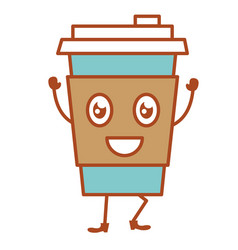Coffee cup plastic kawaii character vector