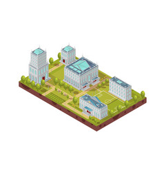 complex of university buildings isometric layout vector image