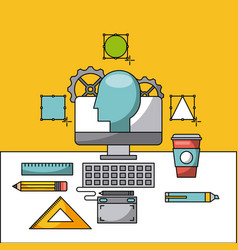 creative process icon flat vector image