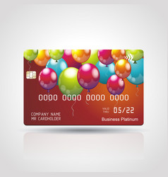 credit card with bright balloons vector image