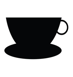 cup and dish silhouette vector image
