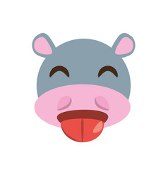 cute face hippo animal cheerful vector image vector image